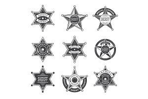 Sheriff stars badges. Western star