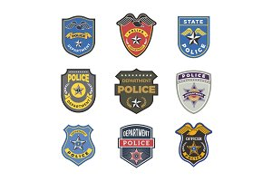 Police badges. Security signs and