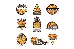 Pizza labels. Pizzeria logo design