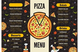 Pizzeria menu template. Italian