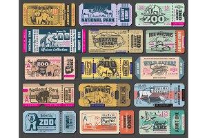 Zoo vintage entrance tickets