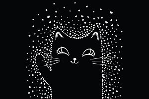 Cute black cat illustration.Cute Cat