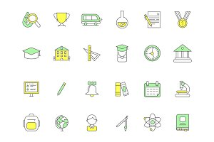 Colored school icons. Vector symbols