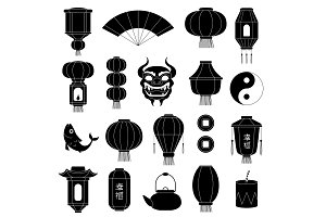 Chinese symbols silhouettes. Asian