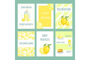 Fresh lemon cards. Lemonade and