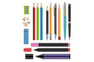 Pen and pencils. Office stationery
