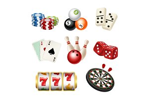 Casino game icons. Playing cards