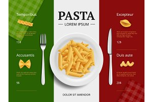 Italian menu cover. Pasta on plate