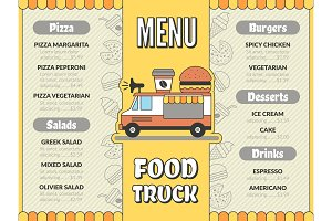 Food truck menu. Outdoor kitchen in