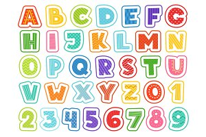 Cartoon alphabet. Cute colored