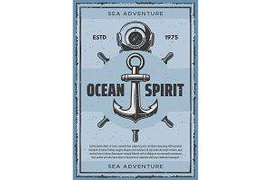 Nautical anchor and retro aqualung