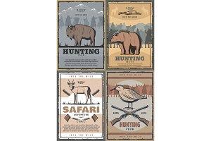 Hunting Safari retro posters