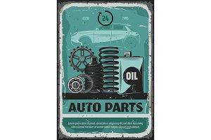 Auto parts, oils and cogwheels