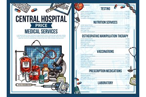 Medical hospital price list