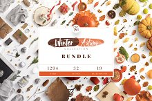 Winter & Autumn Bundle Scene Creator by  in Product Mockups