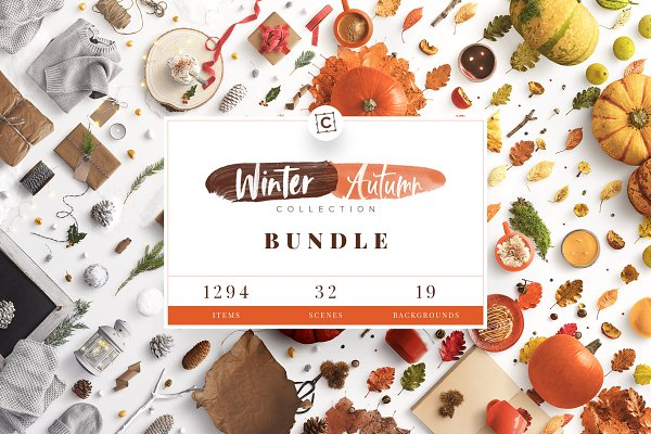 Product Mockups: Custom Scene - Winter & Autumn Bundle Scene Creator
