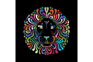 Lion face logo colorful, sketch for