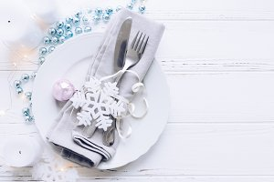 Festive place setting for christmas