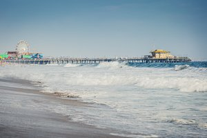 Santa Monica pier and ocean waves in