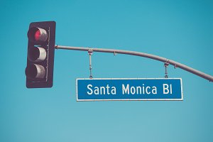 Santa Monica Blvd road sign