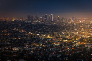 Downtown of Los Angeles at sunset fr