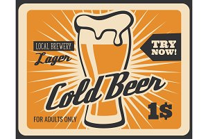 Brewery bar cold beer poster