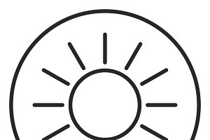 Sun stroke icon, logo illustration