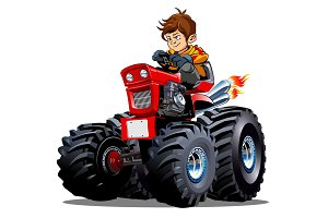 Vector Cartoon Tractor isolated on