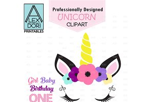 Unicorn Clipart flower crown horse