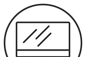 Computer monitor stroke icon, logo