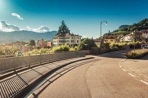 Road in italian alpine village in Tr