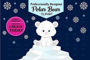 boy polar bear clipart snowflakes