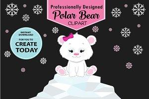 Girl pink polar bear clipart snow