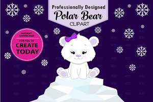 Purple polar bear clipart snowflakes