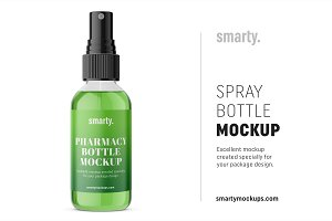 Transparent spray bottle mockup