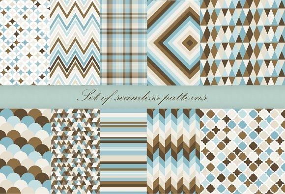 Set of 10 retro geometry backgrounds