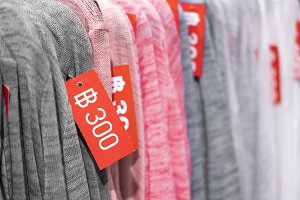 Sale of clothes, Sale tags on clothe