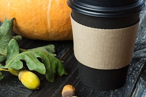 Autumn black coffee in a paper Cup