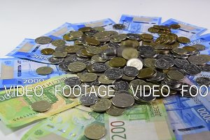 A pile of coins and kopecks rubles