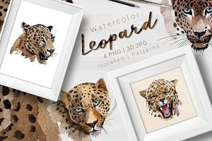 Leopard PNG watercolor set
