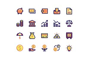 Financial Filled Line Icons