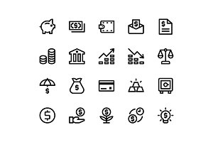 Financial Line Icons