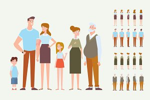 Vector Family animation set