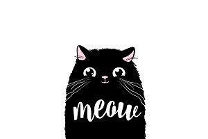 Black cute cat vector print design