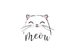 Cute cat vector print design. Meow