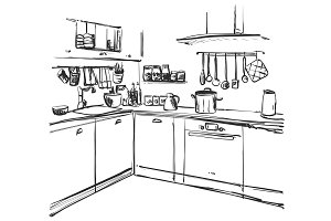 Kitchen interior drawing, vector