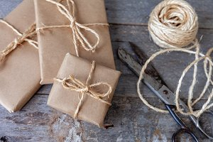Christmas gift pack with rustic back