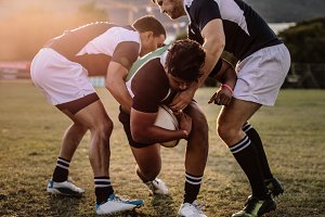 Rugby players striving
