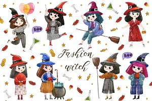 Watercolor witch collection