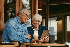 Senior couple at cafe